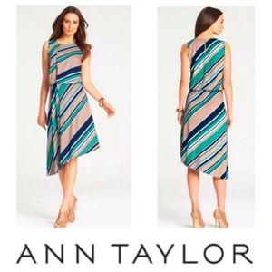 Ann Taylor Striped Tucked Asymmetrical Dress, XS